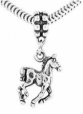 STERLING SILVER DANGLE WALKING HORSE EUROPEAN  BEAD