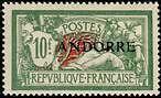 "ANDORRE FRANCAIS N°22 ""TYPE MERSON 10 F. VERT ET ROUGE"" NEUF xx TTB"