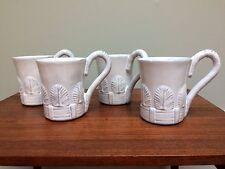 Mariposa - Set of 4 Coffee Cup Mugs Lt Gray Feather/Shell Pattern Michael Updike