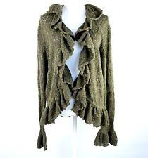 LRL Ralph Lauren XL Ruffle Cardigan Sweater Green Wool Cashmere Bell Sleeve $139