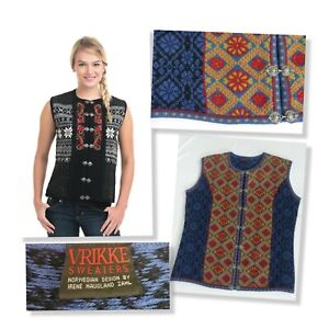 Vrikke Norwegian Wool Floral Fair Isle Hand Embroidered Sweater Vest - Sz L $179