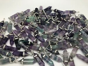 Wholesale Lot of 10 Natural Raw FLUORITE Gemstone Crystal Faceted Point Pendants