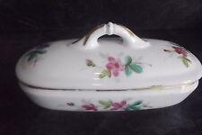 Ancienne boite brosse à dent porte savon en porcelaine faïence décor floral