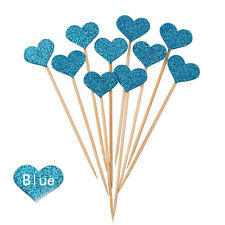 10x Glitter Love Heart Wedding Cake Topper Souvenirs Birthday Party Decoration D Blue