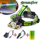 30000LM CREE XM-L Skywolfeye 3xT6 LED Headlight Headlamp 18650 Torch/Charger USA