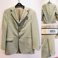 "Mens M&S Marks & Spencer Blazer 40"" Long  Stone Jacket 40L"
