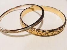 "J Crew Loft Bangle Cuff Rhinestone 2.5"" Bracelet Lot Gold Silver Toned"