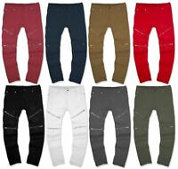 MENS stretch biker DENIM Fashion ZIPPER  SKINNY Fit Distressed ripped jeans