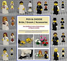 LEGO - PICK & CHOOSE Bride & Groom Minifigures - Wedding Dress Ring Cake Topper