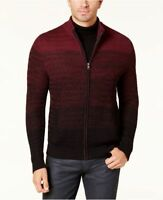 Alfani Men's Burgundy Ombré Full-Zip Sweater, Size Medium