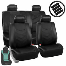 Faux Leather Seat Cover For Auto Car SUV Solid Black w/ Accessories / Free Gift