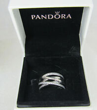 Authentic PANDORA Sterling Silver CZ Entwined Ring 190919CZ sz 5.5