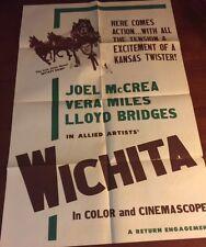 WICHITA Movie POSTER 27x40  Joel McCrea, Vera Miles, Lloyd Bridges