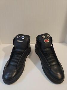 """Men's FENDI Black Leather Sneakers """"Fendi Faces"""" - Size 13US - 12UK"""