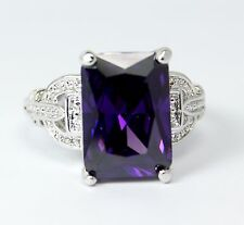 Women's 18 Carat White Gold Filled Purple Crystal Ring Jewellery UK Size O