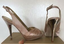 Carvela Kurt Geiger nude/champagne/beige satin pumps mirror heels worn twice UK4