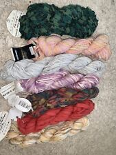 new 7 Skeins  Cotton Poly Acry Mixed Ribbon Yarn Lot