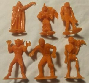 "Vintage 1960s MPC Rare Plastic Halloween Monster Figures Lot of 6 Orange 2.5"""