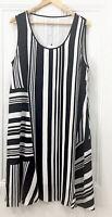 Blue Illusion Womens Dress XL Plus Size stripe black white sleeveless BNWT New