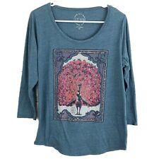 Lucky Brand Womens XL Peacock Blue Top Shirt 3/4 Sleeve Graphic Tee Shirt