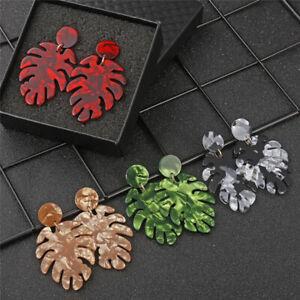 Women Boho Monstera Leaf Drop Dangle Earrings Tropical Plant Statement Jewelry T