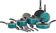 Versatile Nonstick Aluminum Cookware Set 15 Piece Blue Kitchen Pots and Pans NEW