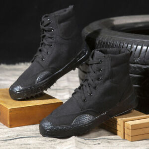 Mens Canvas Hiking Shoes Train Military Work Combat Boots Outdoor Casual Shoes