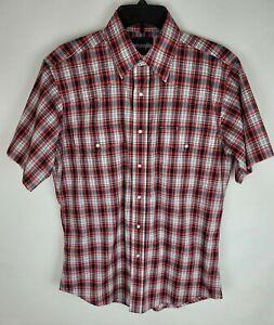 Vintage Wrangle Medium Red White Blue Plaid Pearl Snap Short Sleeve Collar Shirt