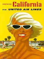 Southern California Beaches Vintage United States Travel Advertisement Poster
