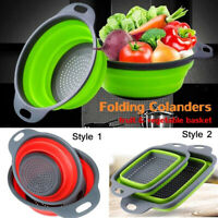 Kitchen Collapsible Foldable Silicone Colander Fruit Vegetable Strainer Basket-