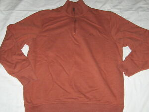Mens Size Large DOCKERS Long Sleeve Burnt Orange 1/4 Zip Pullover Sweatshirt VGC