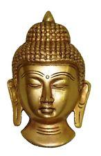 Tibetan Buddhist Meditating Budha Statue Brass Wall Hanging Buddha Mask Figure