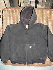 CARHARTT DUCK ACTIVE QUILTED FLANNEL LINED HOODED JACKET BLACK J140 SIZE XL