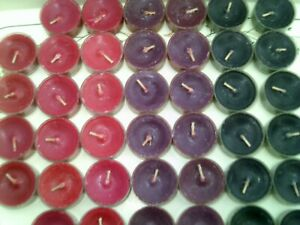 42 Partylite  Tealights 7 x 6  of BURGANDY , BLACK @ RED  Most scented few not