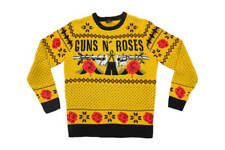 GNR Guns N Roses Ugly Christmas Sweater VERY Slim Fit Small (Mustard)