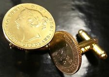 1870 Queen Victoria Canada Newfoundland 2 Dollars Gold Tone Coin Cufflinks + Box