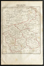 1843 - Pologne - Carte ancienne - Perrot & Tardieu - Antique Map