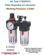 "Air Tool ½""BSPP(F) Filter Regulator & Lubricator - Working Pressure: 1-8 Bar"