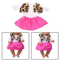 Fashion Print Fur Vest Skirt Outfit For 18 Inch American Doll Clothes Accs