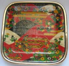 Vintage Bamboo Tray 5 x 5 Painted Floral Design Red Green Yellow Black
