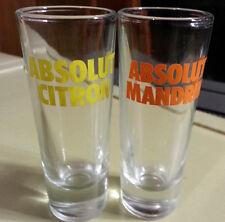 "2 ABSOLUT Vodka Citron & Mandrin 4-1/8"" Tall 2 Ounce Shot Glasses shooter/shot"