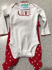 #2071 VALENTINE LOVE THE LITTLE THINGS GIRL 0-3 MONTH BODYSUIT/RED PANTS SET NEW