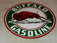 "VINTAGE BUFFALO GASOLINE W/ WESTERN BISON 11 3/4"" PORCELAIN METAL GAS & OIL SIGN"