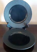 Retroneu Corrugated Black Lets Eat Black Rim Dinner Plates  x2 Indonesia