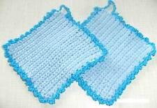 1 Paar Topflappen Baumwolle - Handarbeit, gehäkelt - in Hellblau mit Türkis Neu!