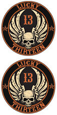 LUCKY 13 STICKER ROCKABILLY SKULL WITH WINGS AND STARS STICKER PAIR