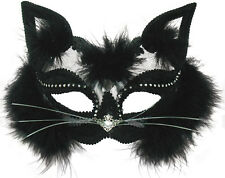 BLACK CAT MASQUERADE EYE MASK CAT WOMEN TRANSPARENT HALLOWEEN FANCY DRESS EM433