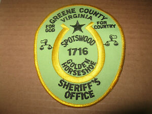 GREENE COUNTY VIRGINIA SHERIFF POLICE PATCH (FOR GOD FOR COUNTRY WITH HORSESHOE)
