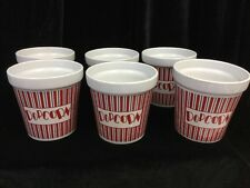 VTG Set of 6 Ceramic Popcorn  Cups - Fun for Movie Night!!