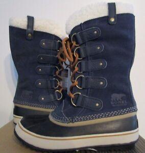 NIB Womens 5-11 Sorel Joan of Arctic Shearling Leather Winter Boots - Navy